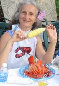 My sister, Deborah, enjoying corn on the cob and steamed lobster!